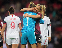Football - 2019 / 2020 Women's International Friendly - England vs. Germany<br /> <br /> German goalkeeper, Merle Frohms and Kathrin Hendrich celebrate their 2-1 victory at the final whistle, at Wembley Stadium.<br /> <br /> COLORSPORT/ANDREW COWIE