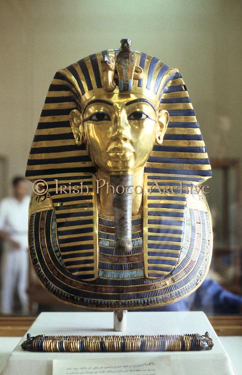Golden death mask of Tutankamen (Tutankhamun) dc1340BC. Ancient Egyptian Pharaoh.