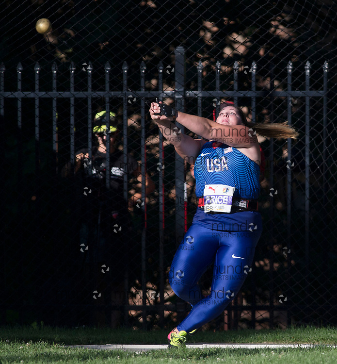 Toronto, ON -- 10 August 2018: Deanna Price (USA), gold in hammer throw at the 2018 North America, Central America, and Caribbean Athletics Association (NACAC) Track and Field Championships held at Varsity Stadium, Toronto, Canada. (Photo by Sean Burges / Mundo Sport Images).