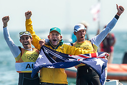 10.08.2012, Bucht von Weymouth, GBR, Olympia 2012, Segeln, im Bild GOLD:.Belcher Mathew, Page Malcolm, (AUS, 470 Men).With coach Victor Kovalenko // during Sailing, at the 2012 Summer Olympics at Bay of Weymouth, United Kingdom on 2012/08/10. EXPA Pictures © 2012, PhotoCredit: EXPA/ Daniel Forster ***** ATTENTION for AUT, CRO, GER, FIN, NOR, NED, .POL, SLO and SWE ONLY!