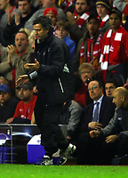 LIVERPOOL V CHELSEA 03/05/2005  (0-0) CHAMPIONS LEAGUE SEMI-FINAL 2ND LEG<br />NO WAY JOSE  -  END OF THE ROAD FOR MOURINHO AS RAFA BENITEZ WATCHES HIS ANGUISH<br />Photo Roger Parker Fotosports International