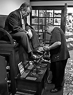 Chicago Mayor Richard M. Daley gets his shoes shined while attending the Annual Conference of Great Lakes and St. Lawrence Mayors at the Chicago Hilton and Towers on July 15, 2004 in Chicago.