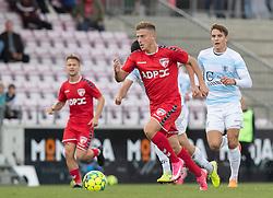 Agon Mucolli (FC Fredericia) under kampen i 1. Division mellem FC Fredericia og FC Helsingør den 4. oktober 2020 på Monjasa Park i Fredericia (Foto: Claus Birch).
