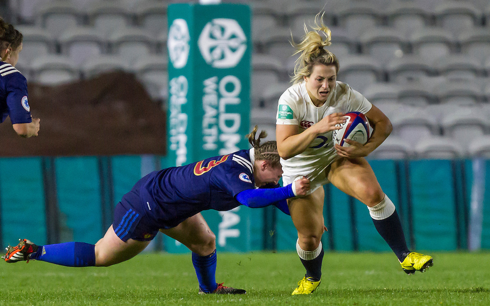 Victoria Fleetwood in action, England Women v France Women in an Old Mutual Wealth Series, Autumn International match at Twickenham Stoop, Twickenham, England, on 9th November 2016. Full Time score 10-5