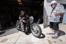 Billy Lane on his 1938 Harley-Davidson Model EL 61 c.i. Knucklehead at his shop, Ormond Beach, FL. Monday, March 16, 2015.  Photography ©2015 Michael Lichter.
