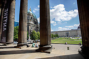 People enjoy a warm day at Lustgarten in the Mitte District in Berlin, Germany, July 10, 2021.