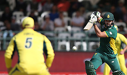 Rilee Rossouw of South Africa drives a delivery to Aaron Finch of Austrailia during the 5th ODI match between South Africa and Australia held at Newlands Stadium in Cape Town, South Africa on the 12th October  2016<br /> <br /> Photo by: Shaun Roy/ RealTime Images