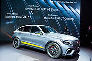 New York, NY - 12 April 2017. Mercedes new GLC 63S Coupé, with a 3.98L, V8 engine, delivering 510hp into a 9-speed sports transmission, powering the car from 0 to 100km/h in 3.8sec, with a top speed of 250km/h.