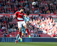 Bernardo Espinosa of Middlesbrough in action with Stephen Ward of Burnley during the Premier League match at the Riverside Stadium, Middlesbrough. Picture date: April 8th, 2017. Pic credit should read: Jamie Tyerman/Sportimage