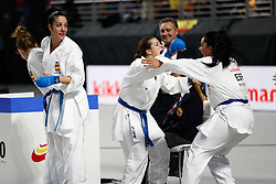 November 10, 2018 - Madrid, Madrid, Spain - Laura Palacio, Cristina Vizcaino and Cristina Ferrer of Spain celebrates the victory and the bronce medal and the third place of Female Kumite for Team tournament during the Finals of Karate World Championship celebrates in Wizink Center, Madrid, Spain, on November 10th, 2018. (Credit Image: © AFP7 via ZUMA Wire)