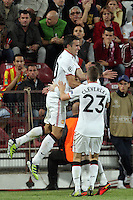 Robin van Persie of Manchester United celebrate after the first goal during the UEFA Champions League, Group H, soccer match against CFR Cluj, at Dr. Constantin Radulescu Stadium in Cluj-Napoca, Romania, 2 October 2012.
