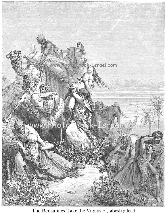 The Children of Benjamin Carrying Off the Virgins of Jabesh Gilead From the book 'Bible Gallery' Illustrated by Gustave Dore with Memoir of Dore and Descriptive Letter-press by Talbot W. Chambers D.D. Published by Cassell & Company Limited in London and simultaneously by Mame in Tours, France in 1866
