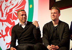 NEWPORT, WALES - Saturday, May 21, 2016: Wales Craig Bellamy and Chris Gunter during the Football Association of Wales' National Coaches Conference 2016 at the Celtic Manor Resort. (Pic by David Rawcliffe/Propaganda)
