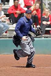 22 April 2017:  home plate umpire Sergio Villarreal during a Missouri Valley Conference (MVC) women's softball game between the Missouri State Bears and the Illinois State Redbirds on Marian Kneer Field in Normal IL