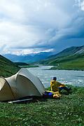 Alaska. Arctic National Wildlife Refuge ANWR . Camping by Esetuk creek off the Hulahula River.