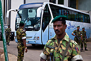 The Pakistan National Cricket team under heavy security leave Pallakele Stadium during the 2011 ICC world cup, Kandy, Sri Lanka