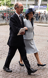 © Licensed to London News Pictures. 15/06/2018. London, UK. Jonathan Hellyer Jones (l)  and Jane Hawking (r) attends the memorial service for Professor Stephen Hawkin at Westminister Abbey. Photo credit: Ray Tang/LNP