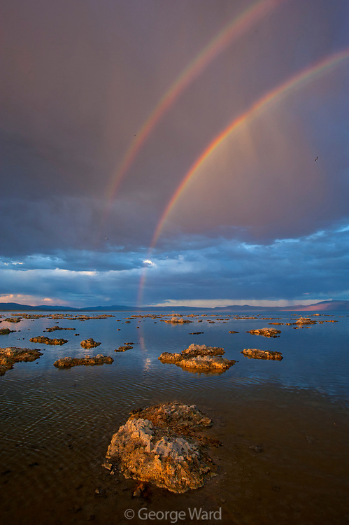 Double Rainbow and Passing Storm at Sunset, Mono Basin National Forest Scenic Area, California