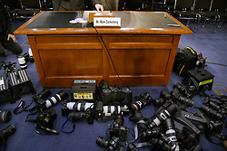 Cameras from press photographers lie on the ground before Facebook CEO Mark Zuckerberg testifies before the Senate judiciary and commerce committees on Capitol Hill over social media data breach, on April 10, 2018 in Washington, DC. Photo by Olivier Douliery/ Abaca