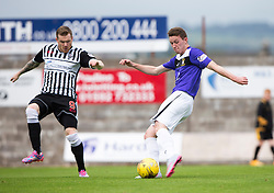 Elgin City's Craig Gunn and East Fife's Pat Slattery. <br /> Half time : East Fife 1 v 1 Elgin City, Ladbrokes Scottish Football League Division Two game played 22/8/2015 at East Fife's home ground, Bayview Stadium.