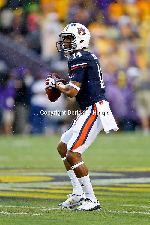 Sep 21, 2013; Baton Rouge, LA, USA; Auburn Tigers quarterback Nick Marshall (14) before a game against the LSU Tigers at Tiger Stadium. Mandatory Credit: Derick E. Hingle-USA TODAY Sports