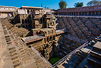 19.5 meter deep Chand Baori in Abhaneri (one of the oldest in Rajasthan, built by King Chanda of Nikumbha Dynasty in 8th-9th century A.D., Abhaneri, India.