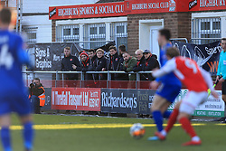 6th January 2018 - FA Cup - 3rd Round - Fleetwood Town v Leicester City - Fans watch from the sideline in front of the Highbury Sports & Social Club - Photo: Simon Stacpoole / Offside.