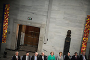 Nobel Peace Prize winners and members of The  Nobel Committee seen during the ceremony in City Hall in Oslo.