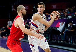 Janos Eilingsfeld of Hungary vs Bogdan Bogdanovic of Serbia during basketball match between National Teams of Serbia and Hungary at Day 11 in Round of 16 of the FIBA EuroBasket 2017 at Sinan Erdem Dome in Istanbul, Turkey on September 10, 2017. Photo by Vid Ponikvar / Sportida