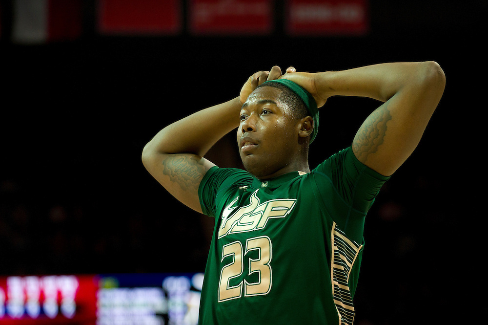 DALLAS, TX - JANUARY 15: Chris Perry #23 of the South Florida Bulls looks on during the second half against the SMU Mustangs on January 15, 2014 at Moody Coliseum in Dallas, Texas.  (Photo by Cooper Neill/Getty Images) *** Local Caption *** Chris Perry