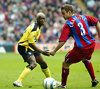 Fotball<br /> Premier League 2004/05<br /> Crystal Palace v Liverpool<br /> 23. april 2005<br /> Foto: Digitalsport<br /> NORWAY ONLY<br /> Djibril Cisse of Liverppol flicks the ball away from Danny Granville of Palace