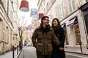 Masatsugu Okutani, 41 Japanese businessman who works for Japanese food company Ajinomoto for whom he is the Marketing manager responsible for the Cos sales throughout Europe takes a stroll through Saint Germain de Pres with girlfriend Sarah in his leisure time, Paris.
