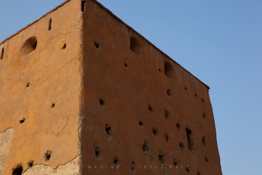The Medina wall of the old fortified city center of Marrakech. Called the Red City because of the color of the exerior of each building.