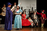 """Princess #12 (Zina LaBrie) is forced to answer a question from the wizard (Michael Tarling) during Laconia High School's final dress rehearsal for """"Once Upon A Mattress"""" Wednesday evening.   (Karen Bobotas/for the Laconia Daily Sun)"""
