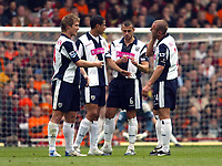 Photo: Chris Ratcliffe.<br />Arsenal v West Bromwich Albion. The Barclays Premiership. 15/04/2006.<br />West Brom players argue amongst themselves after another disappointing result