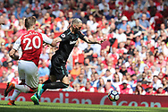 West Ham United midfielder Marko Arnautovic (7) scores a goal to make it 1-1 during the Premier League match between Arsenal and West Ham United at the Emirates Stadium, London, England on 22 April 2018. Picture by Bennett Dean.