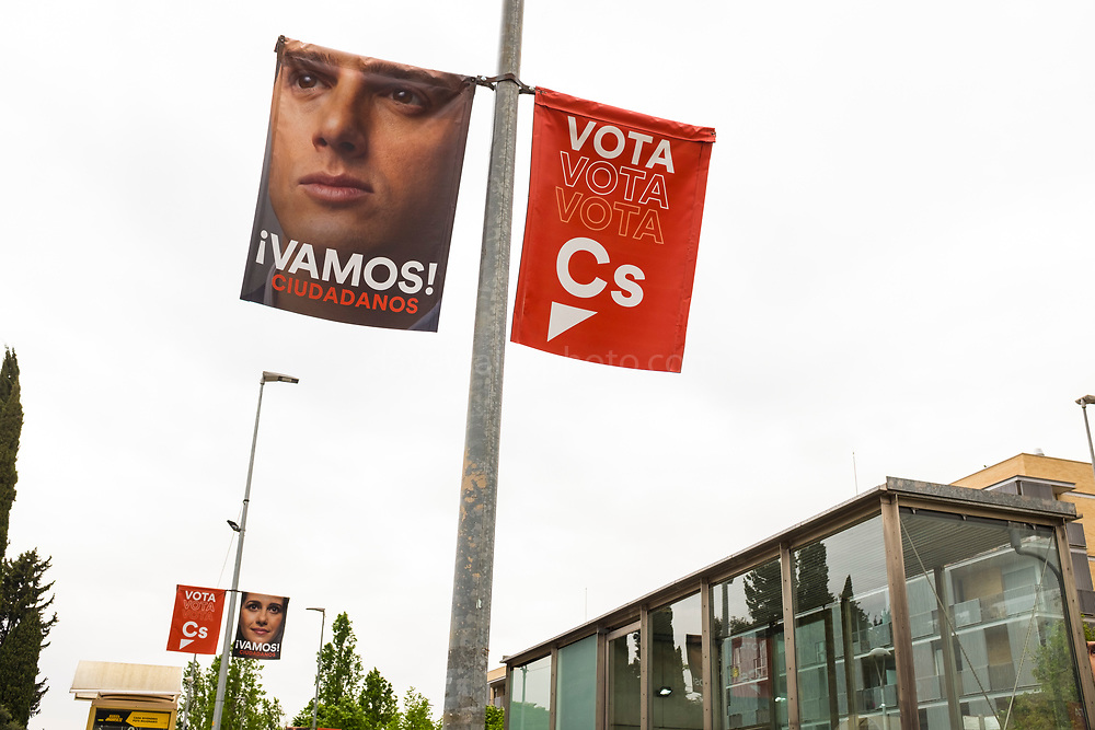 Vamos! Albert Rivera, leader of Ciudadanos, right wing liberal party. Sant Cugat del Valles, Barcelona, ahead of the General Election, Spain, which take place on 28 April 2019.  Sant Cugat is a pro-independence town, with national right wing parties struggling  to gain a foothold.
