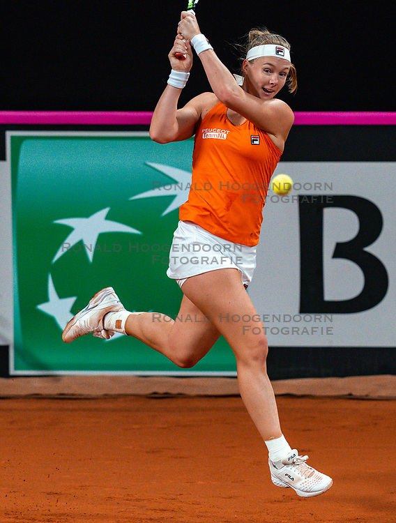 Kiki Bertens in action in the match against Aryna Sabalenka in the Fed Cup qualifier against Belarus in Sportcampus Zuiderpark, The Hague, Netherlands