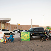 Campaigning outside the Cibola County Complex voting location, Tuesday Nov. 6. in Grants.