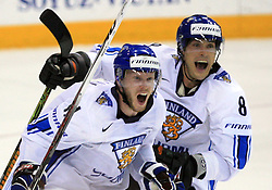 Saku Koivu and at the bach Teemu Selanne of Finland at play-off round quarterfinals ice-hockey game USA  vs Finland at IIHF WC 2008 in Halifax,  on May 14, 2008 in Metro Center, Halifax, Nova Scotia,Canada. Win of Finland 3 : 2. (Photo by Vid Ponikvar / Sportal Images)