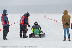 A go-cart on the short course at the Baikal Mile Ice Speed Festival. Maksimiha, Siberia, Russia. Thursday, February 27, 2020. Photography ©2020 Michael Lichter.