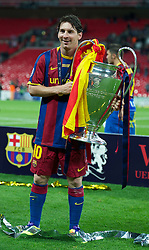 28.05.2011, Wembley Stadium, London, ENG, UEFA CHAMPIONSLEAGUE FINALE 2011, FC Barcelona (ESP) vs Manchester United (ENG), im Bild FC Barcelona's Lionel Messi celebrates with the European Cup trophy after thrashing Manchester United 3-1 during the UEFA Champions League Final at Wembley Stadium, EXPA Pictures © 2011, PhotoCredit: EXPA/ Propaganda/ Chris Brunskill *** ATTENTION *** UK OUT!