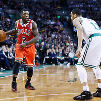 13 February 2013: Chicago Bulls point guard Nate Robinson (2) looks to pass the ball during the Boston Celtics 71-69 victory over the Chicago Bulls at the TD Garden, Boston, Massachusetts, USA.