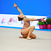 Kratochwill Spela during qualifying at clubs in Pesaro World Cup at Adriatic Arena on 11 April 2015. Spela is a Slovenian individual rhythmic gymnast  born January 27, 1998 in Ljubljana, Slovenia.