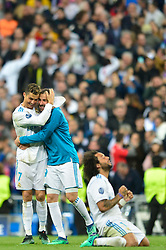 May 2, 2018 - Madrid, Spain - MADRID, SPAIN. May 1, 2018 - Real Madrid players celebrate after the game ends. With a 2-2 draw against Bayern Munchen, Real Madrid made it to the UEFA Champions League Final for third time in a row. Kimmich and James scored for the german squad while Karim Benzema did it twice for los blancos. Goalkeeper Keylor Navas had a great night with several decisive interventions. (Credit Image: © VW Pics via ZUMA Wire)