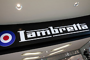 Sign for the motor scooter and clothing brand Lambretta in Birmingham, United Kingdom.