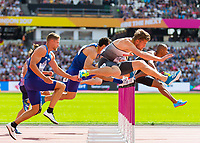 Athletics - 2017 IAAF London World Athletics Championships - Day Nine, Morning Session<br /> <br /> Mens Decathlon - 110m Hurdles<br /> <br /> Rico Freimuth (Germany) clears the hurdle at the London Stadium<br /> <br /> COLORSPORT/DANIEL BEARHAM