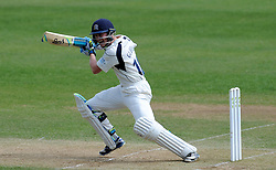 Middlesex's Nick Gubbins pulls at the ball. - Photo mandatory by-line: Harry Trump/JMP - Mobile: 07966 386802 - 29/04/15 - SPORT - CRICKET - LVCC Division One - County Championship - Somerset v Middlesex - Day 4 - The County Ground, Taunton, England.