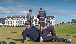 Former footballer Ruud Gullit poses for photographers on the 18th hole during day two of the Alfred Dunhill Links Championship at Carnoustie Golf Links, Angus.