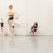 Ayisha McMillan, Principal of the School of Dance, observes a student rehearsal at NC Dance Theatre.